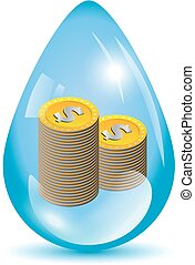 Dollar coins in a water drop