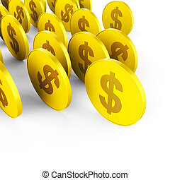 Dollar Coins Means American Dollars And Banking