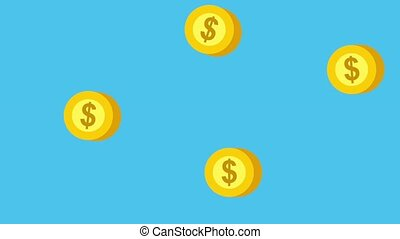 dollar coins money falling background animation