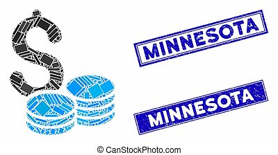 Dollar Coins Mosaic and Scratched Rectangle Minnesota Watermarks