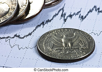 Dollar coins on business background