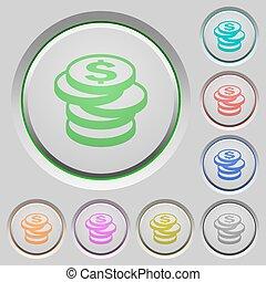 Dollar coins push buttons