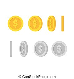 Dollar coins rotation - Flat cartoon gold and silver coins...
