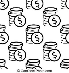 Dollar coins seamless pattern