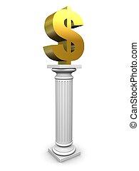 dollar column - 3d rendered illustration of a golden dollar...