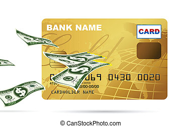 Dollar coming out of Credit Card - illustration of dollar...