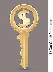 dollar, concept, -, clã©, argent