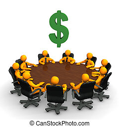 Dollar Conference Table - Orange toon characters with dollar...