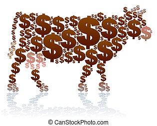 Dollar Cow - Dollar signs, that shape a cow, as a symbol for...