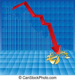 dollar crash - Vector Illustration of a graph where the ...