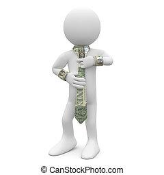 dollar, cravate, cadre