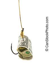 dollar, crochet, appât