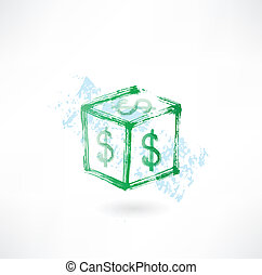 Dollar cube grunge icon
