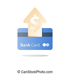 Credit card, payment method, bank services, easy loan, cash back program, saving money, financial solution, bank card, dollar currency, deposit and withdraw, transaction security, vector icon