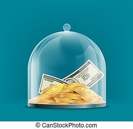 Dollar currency coins under a glass dome. Save money