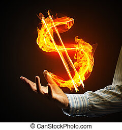 Dollar currency fire symbol