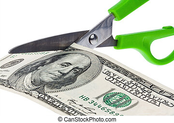 Dollar Currency notes and scissors. Taxes and levies in...
