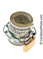 dollar currency notes are locked with a lock
