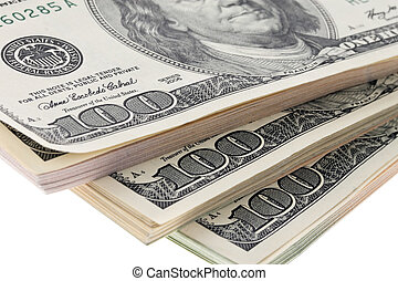 Many dollar bills are superimposed in the stack