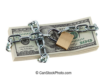 dollar currency notes with lock and chain. money stack for...