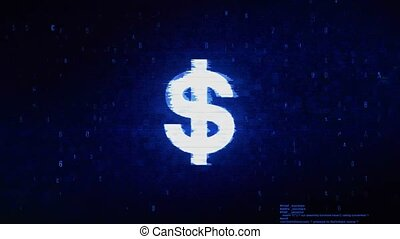 Dollar Currency Symbol Digital Pixel Noise Error Animation.