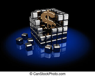 dollar, dans, cube