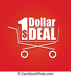 Dollar deal poster with a basket, vector