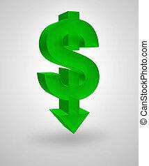 Dollar Decline - Dollar symbol merged with downward arrow....