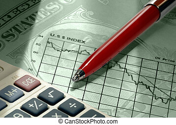 Dollar Declines - Selective focus closeup of US Dollar...