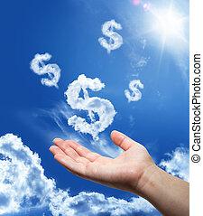 dollar, drömma, -, hand, in, den, sky