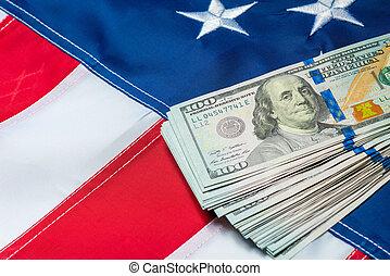 dollar, drapeau américain, closeup, 100, factures, tas