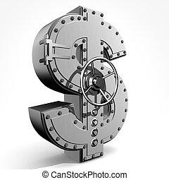 Dollar - Bank safe from  american dollar sign