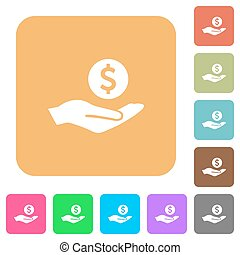 Dollar earnings rounded square flat icons