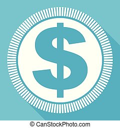 Dollar editable flat vector icon, square web button, blue computer and smartphone application sign in eps 10