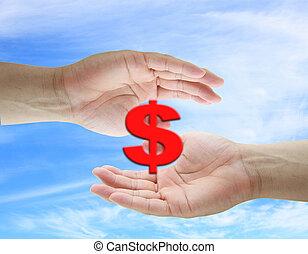 dollar, einsparung, begriff