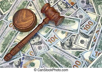dollar, espèces, marteau, fond, juges, commissaire-priseur, ou