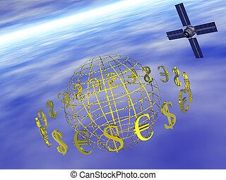 dollar, euro around world with satellite. - World with...