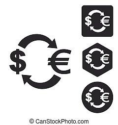 Dollar-euro exchange icon set, monochrome