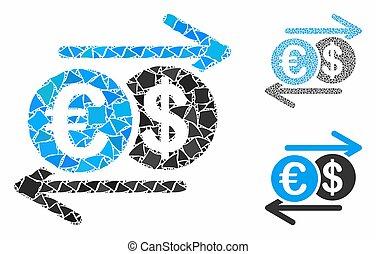 Dollar Euro exchange Mosaic Icon of Uneven Pieces