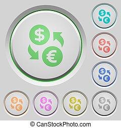 Dollar Euro exchange push buttons