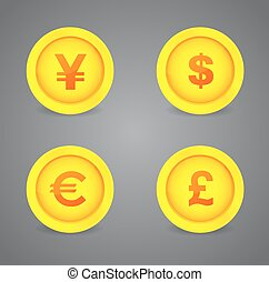 Dollar, Euro, Pound and Yen currency signs