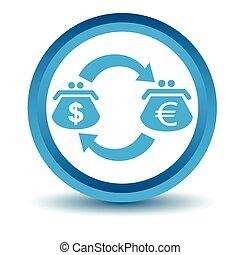 Dollar-euro trade icon, blue, 3D