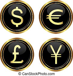 Dollar, euro, yen and pound icons