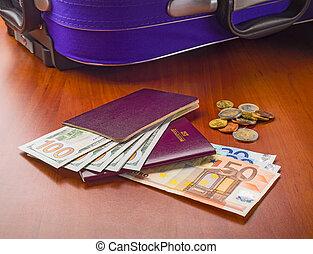 dollar, euros, und, reisepässe