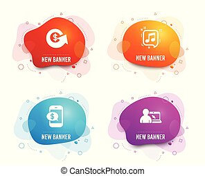 Dollar exchange, Musical note and Phone payment icons. Online education sign. Vector