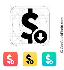 Dollar exchange rate down icon. Vector illustration.