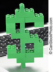 dollar, fait, blocs, signe, lego