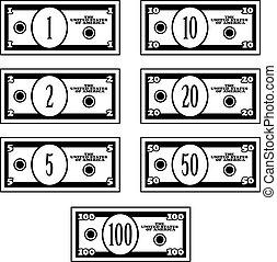 dollar, fictif, billets banque, vecteur, noir, blanc
