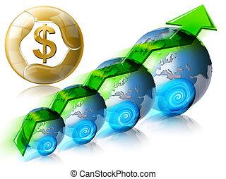 dollar, financieel, positief