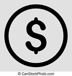 Dollar flat black color rounded vector icon